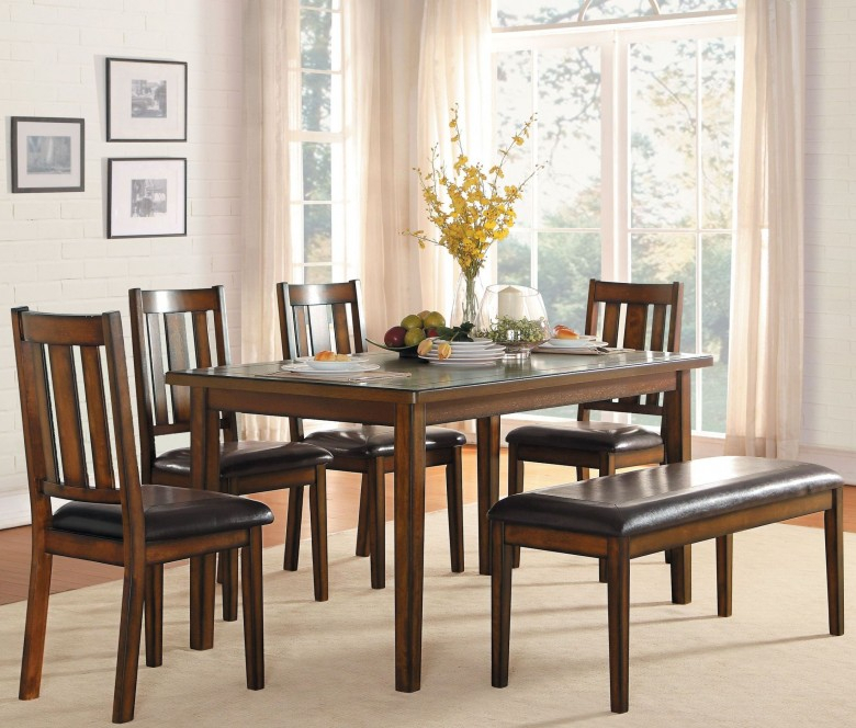 Delmar Burnished Brown 6 Piece Dining Room Set For Delmar 5 Piece Dining Sets (Image 13 of 25)