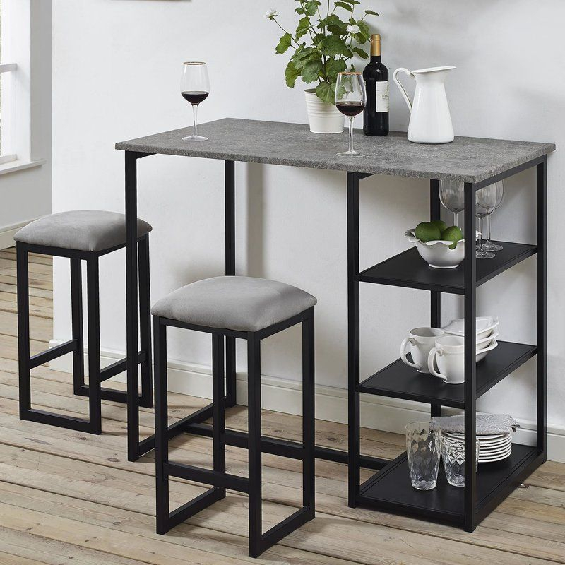 Denham 3 Piece Gray Pub Table Set | Registry | Pub Table Sets Within Berrios 3 Piece Counter Height Dining Sets (Image 15 of 25)