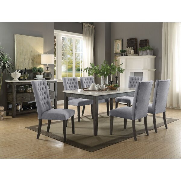 Denney 7 Pieces Dining Setgracie Oaks Great Reviews | Kitchen Within West Hill Family Table 3 Piece Dining Sets (View 9 of 25)