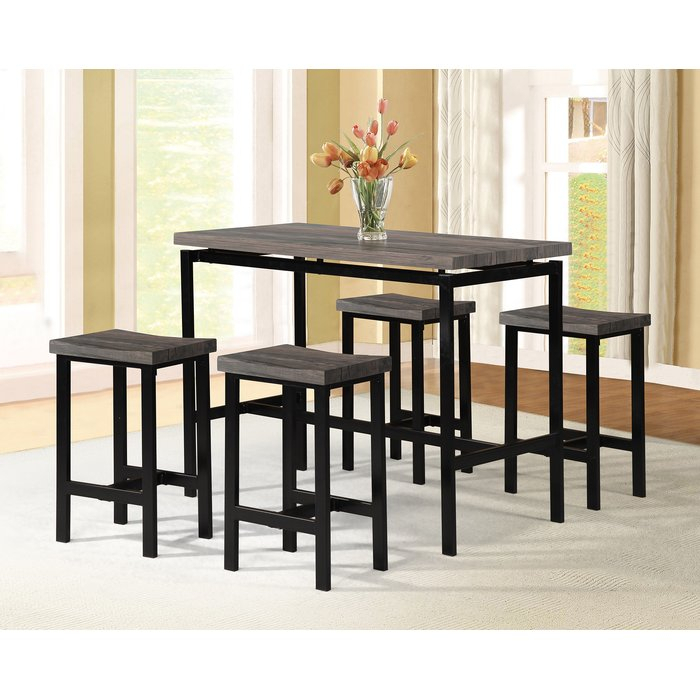 Denzel 5 Piece Counter Height Breakfast Nook Dining Set In Mysliwiec 5 Piece Counter Height Breakfast Nook Dining Sets (View 3 of 25)