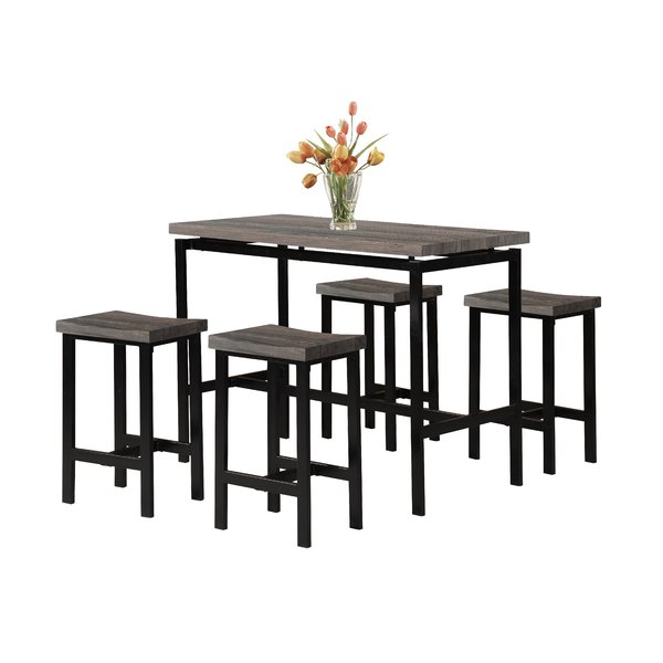 Denzel 5 Piece Counter Height Breakfast Nook Dining Setwrought with regard to Lightle 5 Piece Breakfast Nook Dining Sets