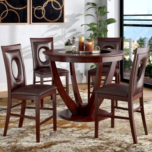 Depriest 5 Piece Counter Height Pub Table Set Pertaining To Bettencourt 3 Piece Counter Height Solid Wood Dining Sets (View 15 of 25)