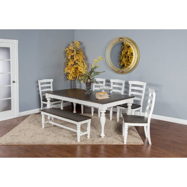 Design Arlene 6 Piece Extendable Solid Wood Dining Setaugust Throughout Laconia 7 Pieces Solid Wood Dining Sets (Set Of 7) (Image 7 of 25)