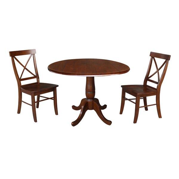 Design Gilleasbuig Round Top 3 Piece Drop Leaf Solid Wood Dining Set in Lonon 3 Piece Dining Sets