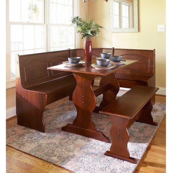 Details About 3 Pc Walnut Wooden Breakfast Nook Dining Set Corner Booth Bench Kitchen Table within 3 Piece Breakfast Nook Dinning Set