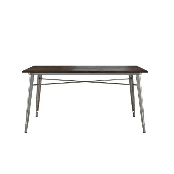 Dhp Penelope Antique Gun Metal/wood Rectangular Dining Table De75065 Intended For Penelope 3 Piece Counter Height Wood Dining Sets (Image 6 of 25)