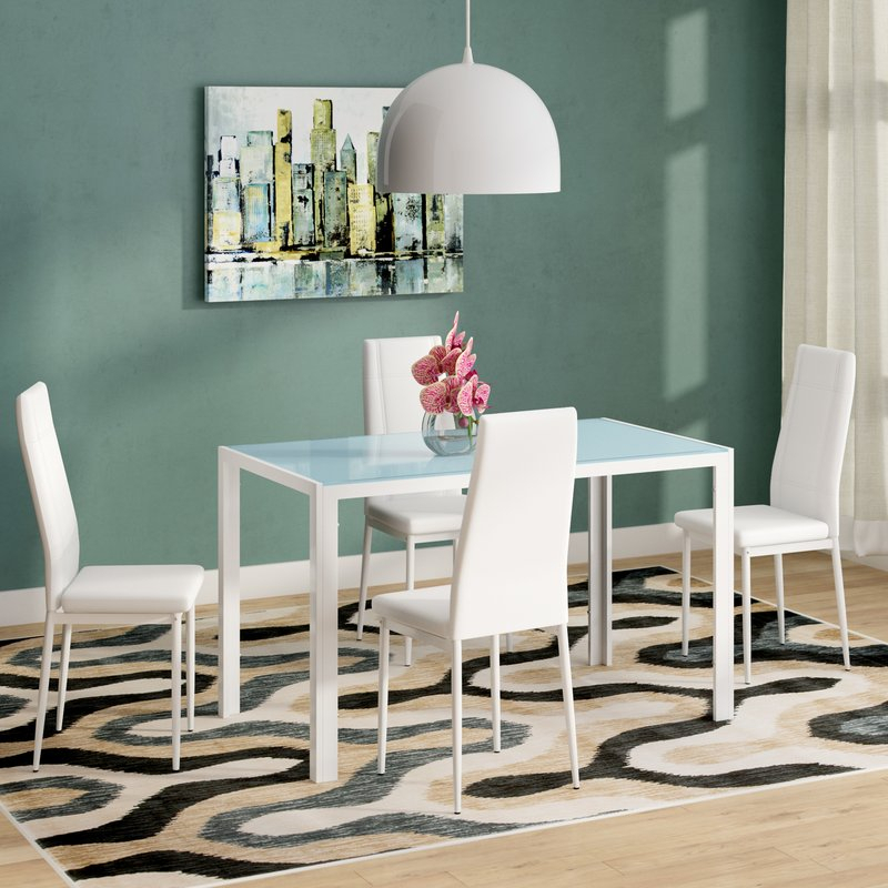 Dimattia 5 Piece Dining Set Within Travon 5 Piece Dining Sets (Image 3 of 25)