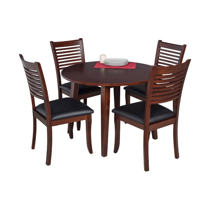 Dinh 5 Piece Drop Leaf Solid Wood Dining Set within Adan 5 Piece Solid Wood Dining Sets (Set of 5)