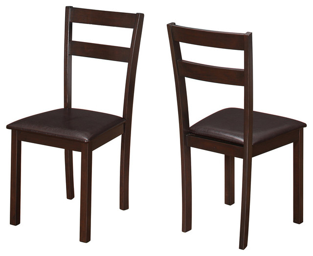 """Dining Chair, 2 Piece Set, 35""""h Cappuccino, Dark Brown Seat With Adan 5 Piece Solid Wood Dining Sets (Set Of 5) (Image 11 of 25)"""