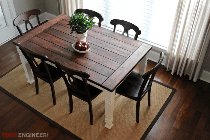 Diy Farmhouse Table | Free Plans | Rogue Engineer For Falmer 3 Piece Solid Wood Dining Sets (Image 10 of 25)