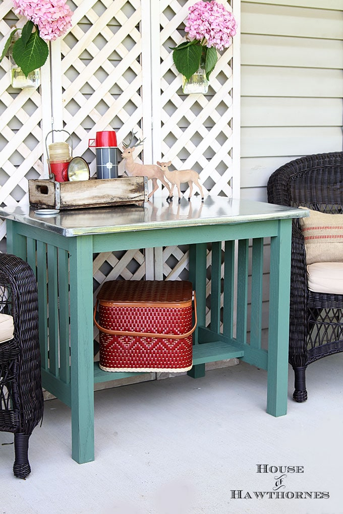 Diy Zinc Top Table – House Of Hawthornes In Bate Red Retro 3 Piece Dining Sets (View 13 of 25)