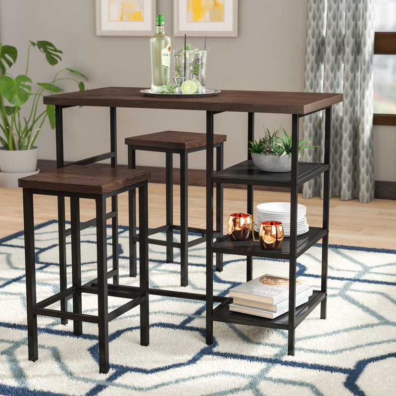 Du Bois 3 Piece Pub Table Set inside Crownover 3 Piece Bar Table Sets