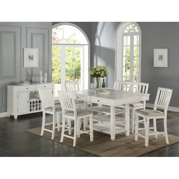 Dwaine 6 Piece Pub Table Sethighland Dunes Great Reviews With Rossiter 3 Piece Dining Sets (Image 9 of 25)