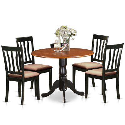 East West Furniture 5 Piece Splat Back Drop Leaf Dinette Dining Regarding Sundberg 5 Piece Solid Wood Dining Sets (Image 12 of 25)
