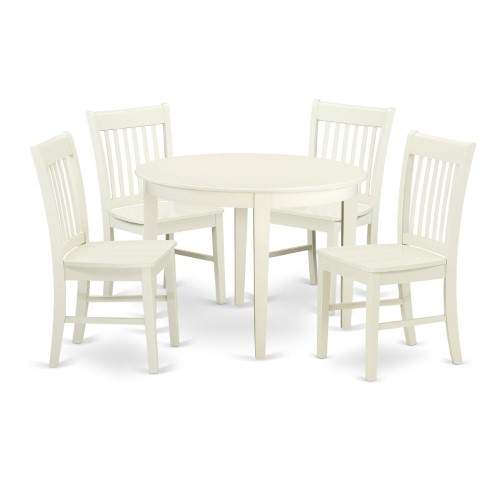 East West Furniture Boston Bono5 Five Piece Round Dining Table Set Throughout Lamotte 5 Piece Dining Sets (View 16 of 25)