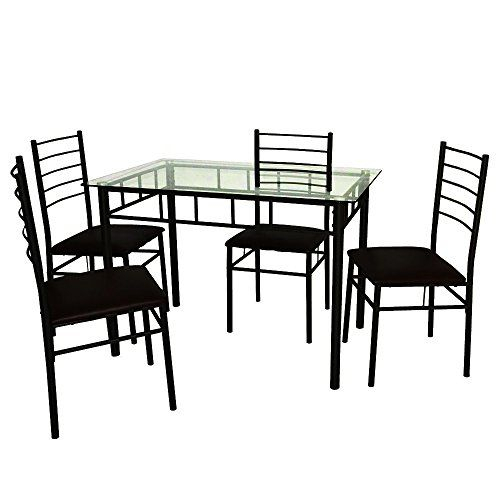 Efd Tempered Glass Dining Table Set Of 5 Pieces Sitting For 4 Modern Within Conover 5 Piece Dining Sets (View 16 of 25)