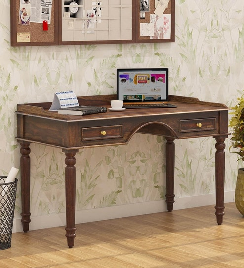 Evelyn Solid Wood Study Table With Drawers In Provincial Teak Finish Amberville Within Evellen 5 Piece Solid Wood Dining Sets (Set Of 5) (View 14 of 25)