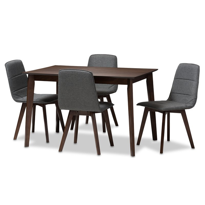 Faning Upholstered 5 Piece Dining Set Pertaining To Wiggs 5 Piece Dining Sets (View 21 of 25)