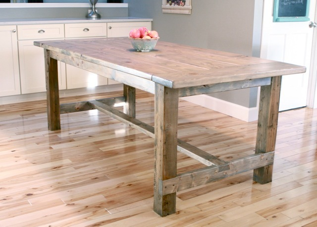 Farmhouse Table – Updated Pocket Hole Plans | Ana White With Falmer 3 Piece Solid Wood Dining Sets (View 23 of 25)
