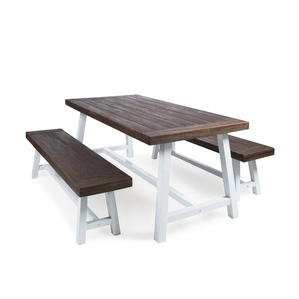 Farmhouse Table With Bench Set | Wayfair Inside Falmer 3 Piece Solid Wood Dining Sets (Image 16 of 25)