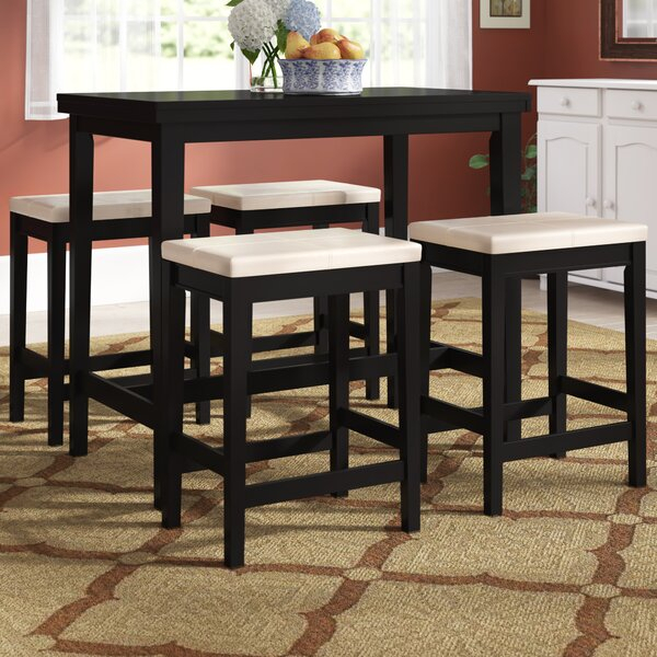 Find Keane 5 Piece Counter Height Solid Wood Dining Setred Regarding Berrios 3 Piece Counter Height Dining Sets (Image 16 of 25)
