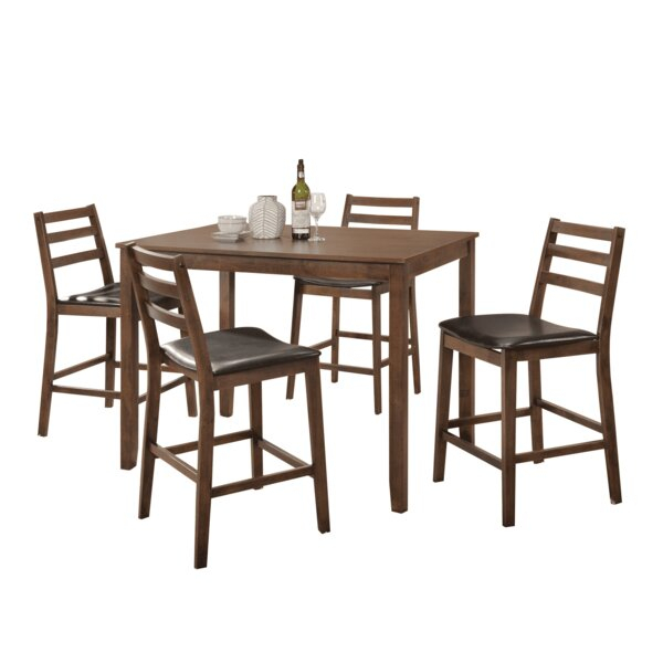 Find Kinnison 5 Piece Counter Height Solid Wood Dining Setred Inside Falmer 3 Piece Solid Wood Dining Sets (Image 17 of 25)