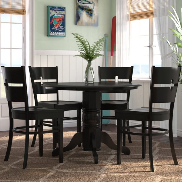 Find Langwater 5 Piece Pedestal Wood Dining Setbeachcrest Home Within Lillard 3 Piece Breakfast Nook Dining Sets (View 12 of 25)