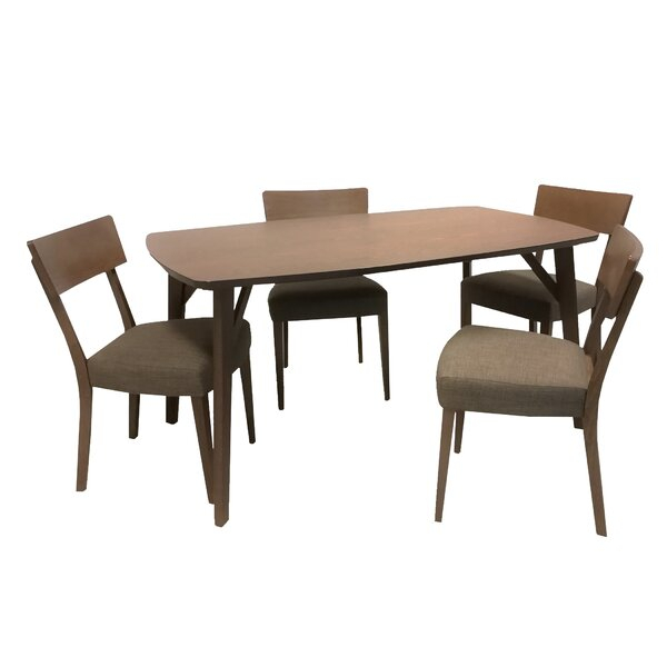 Find Macedonia Rectangular 5 Piece Solid Wood Dining Setwrought with Adan 5 Piece Solid Wood Dining Sets (Set Of 5)