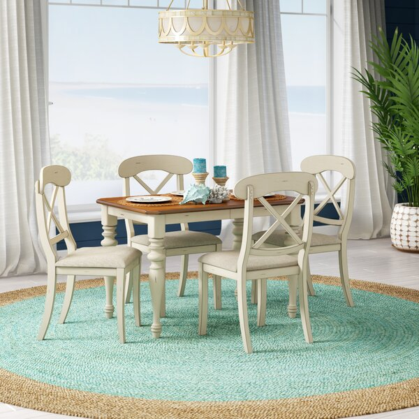 Find Willeford Complete 5 Piece Solid Wood Dining Setred Barrel For Noyes 5 Piece Dining Sets (Image 8 of 25)
