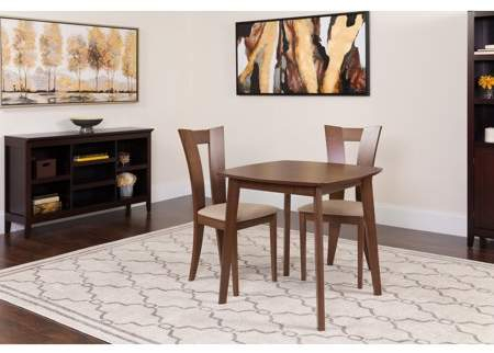Flash Furniture Parlier 5 Piece Walnut Wood Dining Table Set With Pertaining To Goodman 5 Piece Solid Wood Dining Sets (Set Of 5) (View 23 of 25)