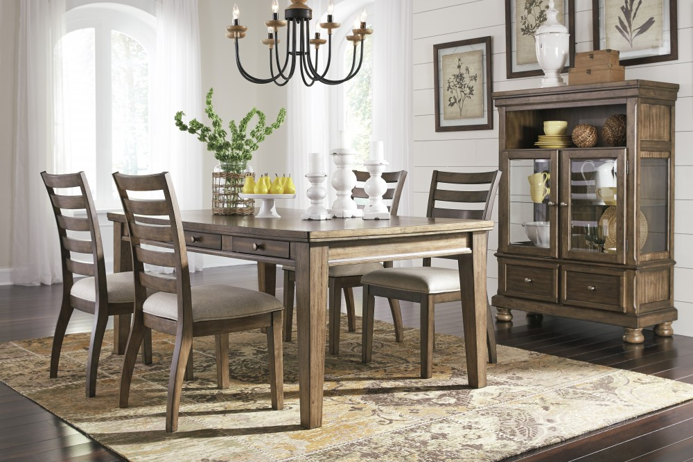 Flynnter – Rectangular Dining Room Table & 4 Uph Side Chairs Pertaining To Linette 5 Piece Dining Table Sets (Image 9 of 25)