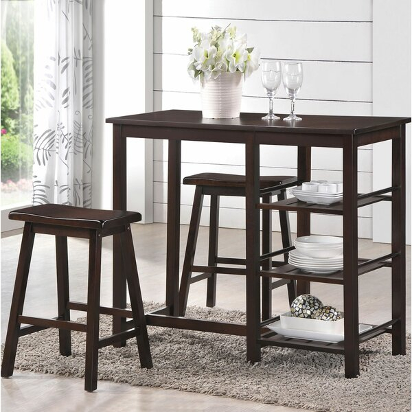 Fresh Emmaline 5 Piece Solid Wood Dining Setalcott Hill Sale In Anette 3 Piece Counter Height Dining Sets (Image 6 of 25)