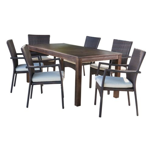 Fresh Gdf Studio 7 Piece Goodman Outdoor Dining Set With Brown Wood In Goodman 5 Piece Solid Wood Dining Sets (Set Of 5) (View 14 of 25)