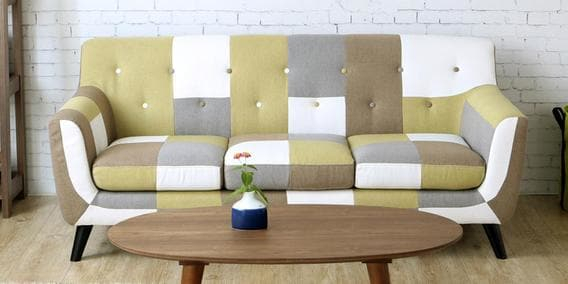Frida Three Seater Sofa In Yellow Multi Colourcasacraft In Frida 3 Piece Dining Table Sets (Image 15 of 25)