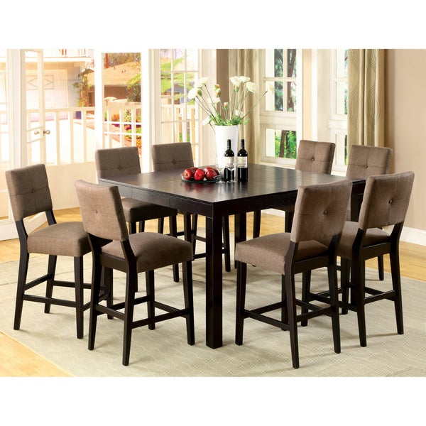 Furniture Of America Catherine Espresso Counter Height Dining Set Regarding Wallflower 3 Piece Dining Sets (Image 9 of 25)