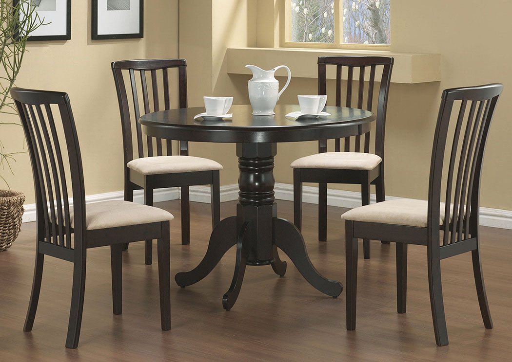 Furniture Palace Table W/4 Beige & Cappuccino Chairs With Regard To Northwoods 3 Piece Dining Sets (View 11 of 25)