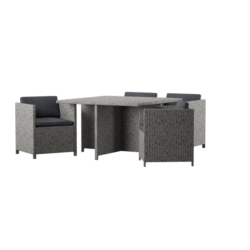 Furst Outdoor 5 Piece Dining Set With Cushions Pertaining To Berrios 3 Piece Counter Height Dining Sets (View 11 of 25)