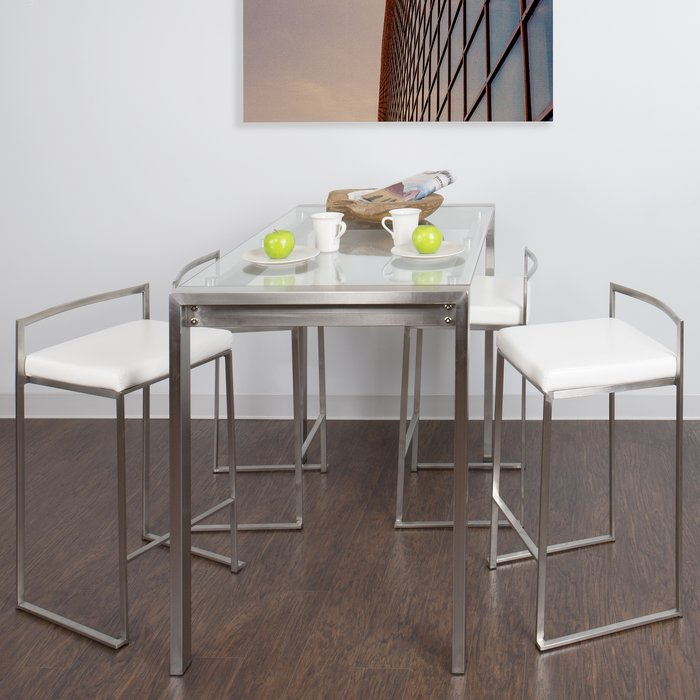 Gary 5 Piece Counter Height Dining Set With Mizpah 3 Piece Counter Height Dining Sets (View 12 of 25)