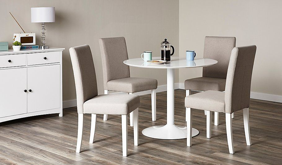 George Home Wyatt Table With 4 Upholstered Chairs - White | White with regard to Adan 5 Piece Solid Wood Dining Sets (Set Of 5)