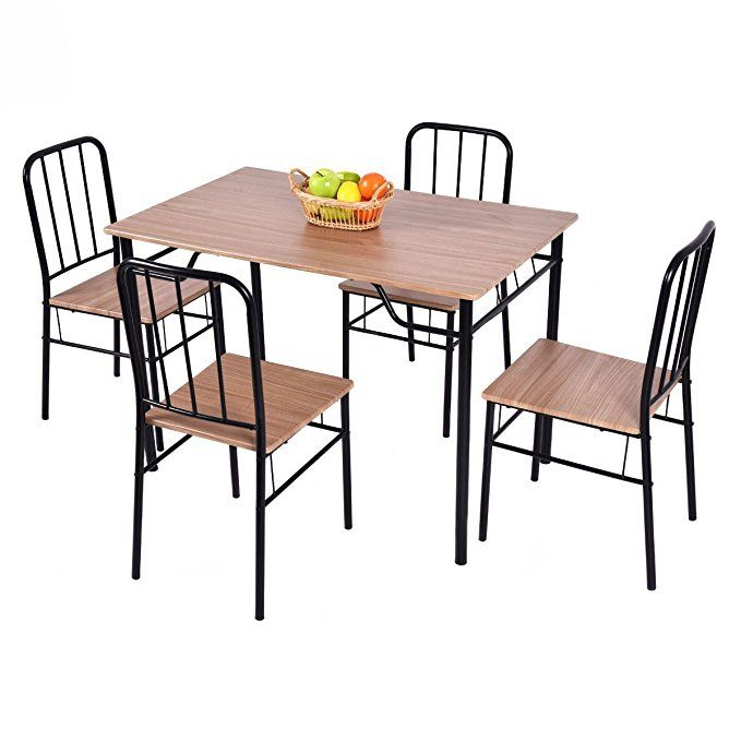 Giantex 5 Piece Dining Set Table And 4 Chairs Metal Wood Home Pertaining To Stouferberg 5 Piece Dining Sets (View 24 of 25)