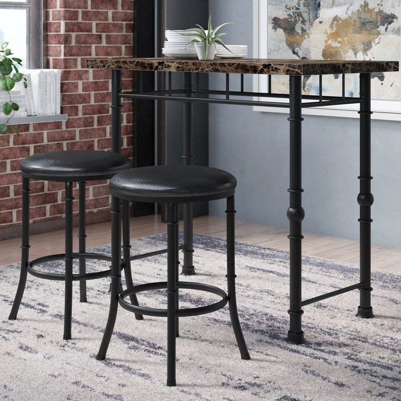 Giles 3 Piece Dining Set In Wallflower 3 Piece Dining Sets (Photo 8 of 25)