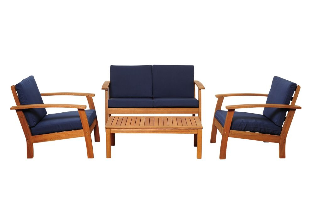 Giles 4 Piece Eucalyptus Patio Deep Seating Set With Blue Cushion For Giles 3 Piece Dining Sets (View 13 of 25)