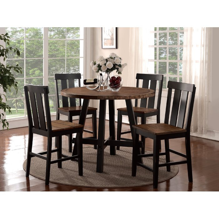 Goodman 5 Piece Counter Height Dining Set within Goodman 5 Piece Solid Wood Dining Sets (Set Of 5)