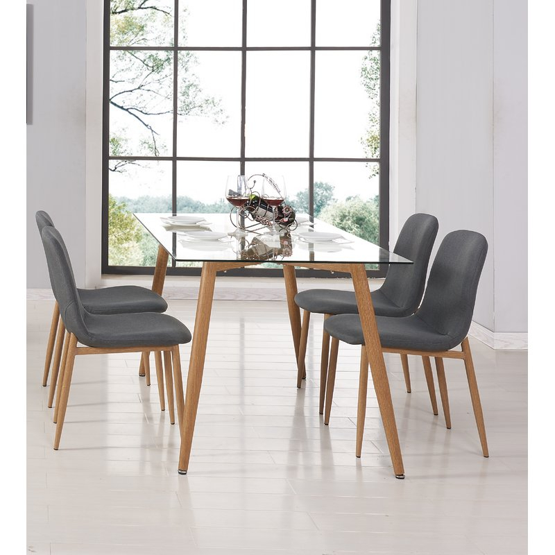Goodman 5 Piece Dining Set Inside Goodman 5 Piece Solid Wood Dining Sets (Set Of 5) (Photo 5 of 25)