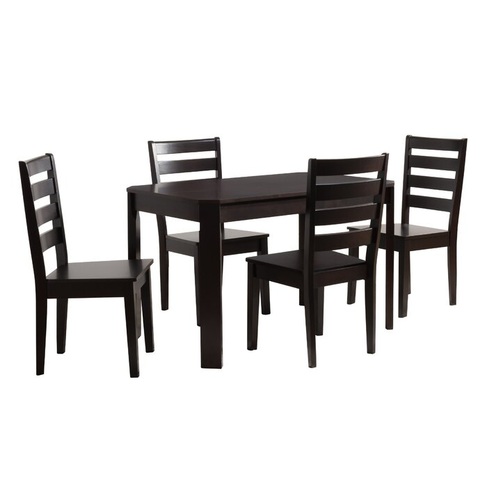 Goodman 5 Piece Solid Wood Dining Set in Goodman 5 Piece Solid Wood Dining Sets (Set Of 5)