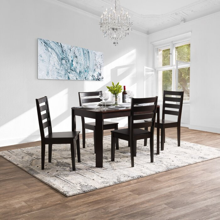Goodman 5 Piece Solid Wood Dining Set intended for Goodman 5 Piece Solid Wood Dining Sets (Set of 5)