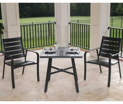 "Gracie Oaks Colson 3 Piece Commercial Grade Bistro Set With 2 Aluminum  Slat Back Dining Chairs And A 30"" Slat Top Table Gracie Oaks Throughout Bearden 3 Piece Dining Sets (Image 14 of 25)"