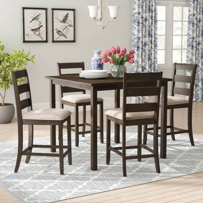 Gracie Oaks Goodman 5 Piece Counter Height Dining Set & Reviews for Goodman 5 Piece Solid Wood Dining Sets (Set Of 5)