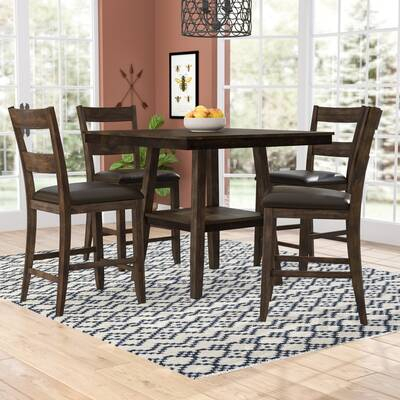 Gracie Oaks Goodman 5 Piece Counter Height Dining Set & Reviews within Goodman 5 Piece Solid Wood Dining Sets (Set of 5)