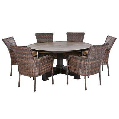 Grayson Brown 7 Piece Wicker Round Outdoor Dining Set With Olefin Toffee  Cushions With Regard To Kieffer 5 Piece Dining Sets (Photo 13 of 25)